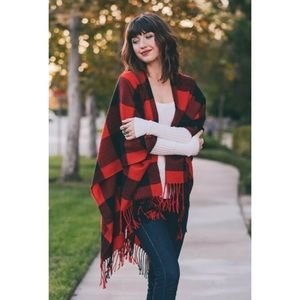 Accessories - RED BUFFALO CHECK TASSEL FRINGE RUANA PONCHO